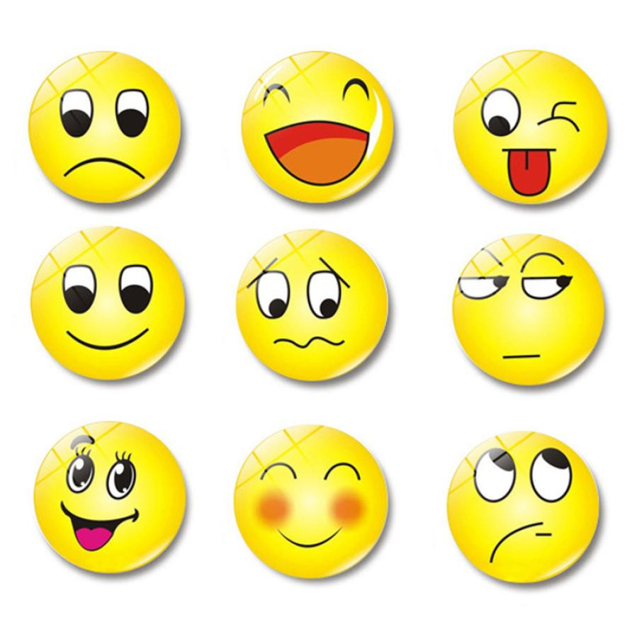 1 St Glazen Koepel Ronde Leuke Glimlach Emoji Gezicht Uitdrukkingen Koelkast Sticker Magneet Bericht Houder Woondecoratie Vouw-Weerstand
