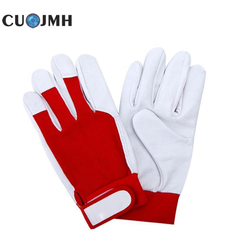 1 Pair Gloves Mechanic Work Glove Leather Welding Coat Heavy Industrial Sport Glove Red And White Working Gloves