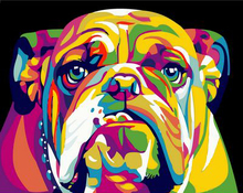 Digital Diy oil painting by numbers Abstract animal bulldog wall decor picture on canvas paint coloring number