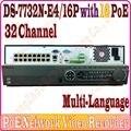 Английский Ver. DS-7732N-E4/16 P NVR 32CH Канал 5MP 6MP разрешением записи с 16 PoE порт и 4 SATA интерфейсы, отсутствие Коробки пакета
