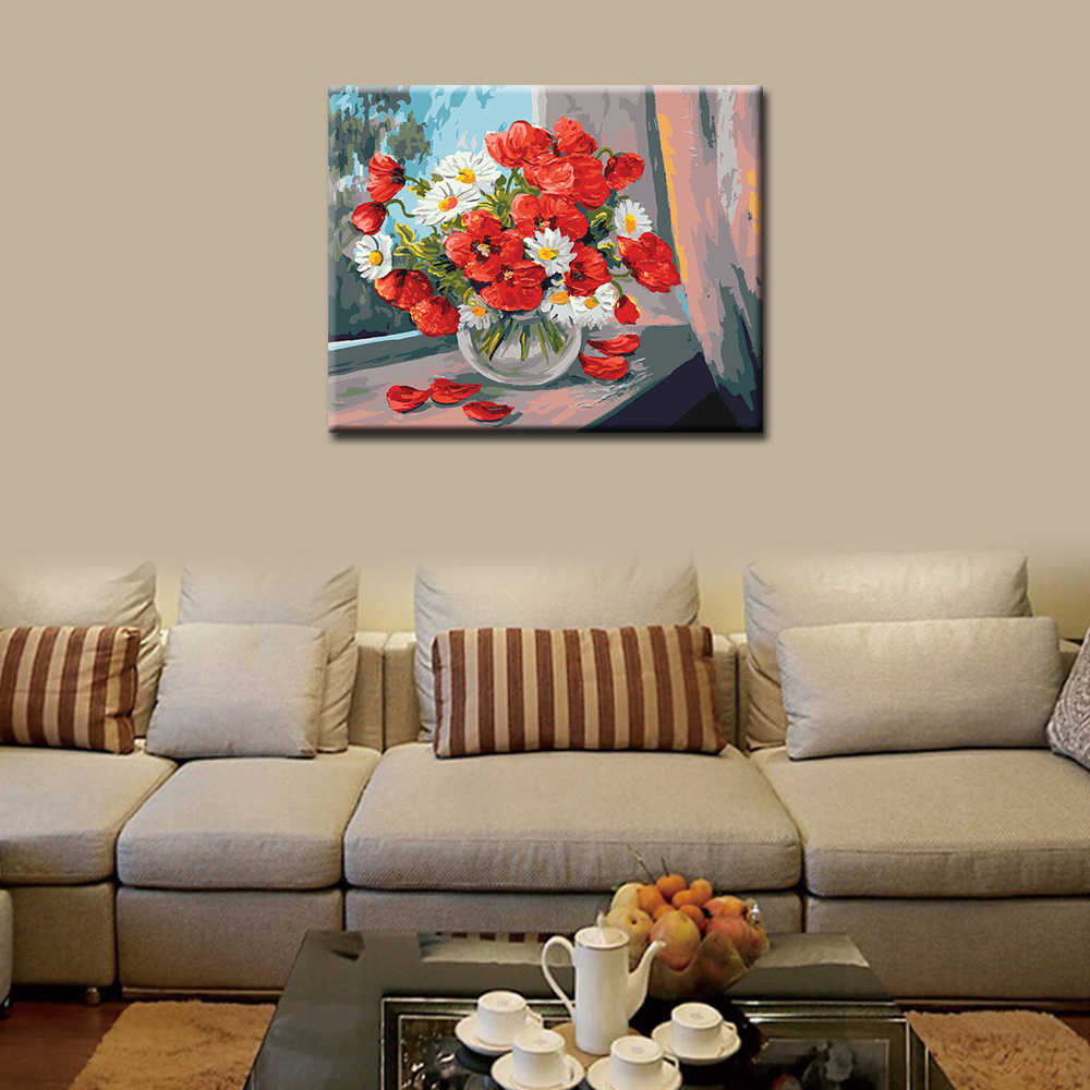 WEEN Red Flowers-DIY Painting By Numbers Kit For Kids, Wall Art Picture, Acrylic Paint, Canvas Painting Home Decor 40x50cm