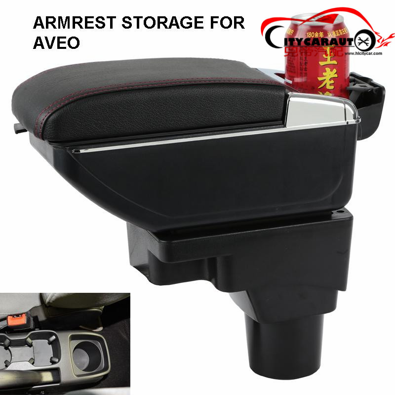 CITYCARAUTO central armrest BIG SPACE+LUXURY+USB armrest Storage content box with cup holder LED USB FOR Aveo Sonic