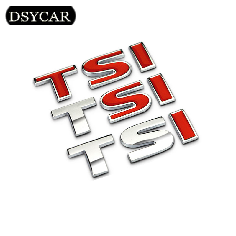 1Pcs 3D Metal TSI Car Side Fender Rear Trunk Emblem Badge Sticker Decals for Volkswagen Sagitar Golf Magotan Polaris Boracay 1pcs 3d abs 09 15 logo 6 2l for chevy camaro badge fender boot trunk emblem sticker car styling 185x65mm
