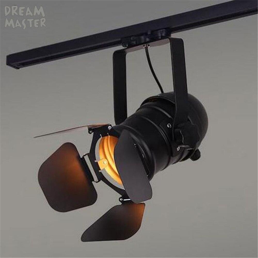 Vendimia E27 pista luz Loft Industrial Spotlight Rail luz negro lámpara de la pista con barndoor tienda de ropa iluminación tienda