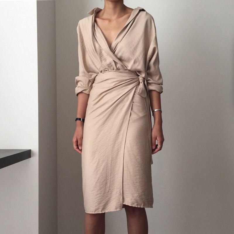 CHICEVER Bow Bandage Dresses For Women V Neck Long Sleeve High Waist Women's Dress Female Elegant Fashion Clothing New 19 30