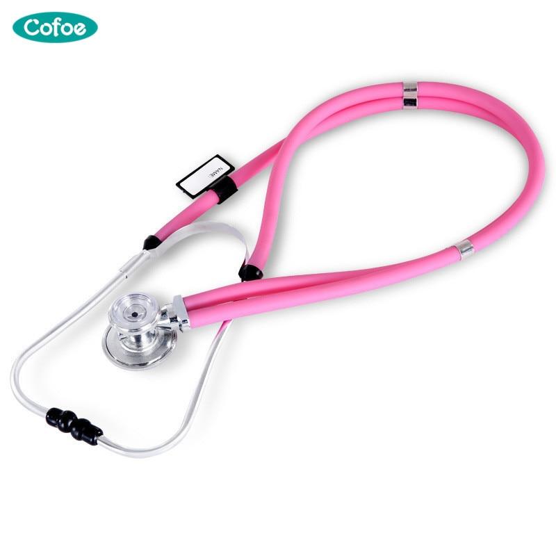 купить Cofoe Dual Head Stethoscope Medical Estetoscopio Double Head Long Soft Tube Probe Measure Monitor Angiocarpy Multi Function по цене 873.77 рублей