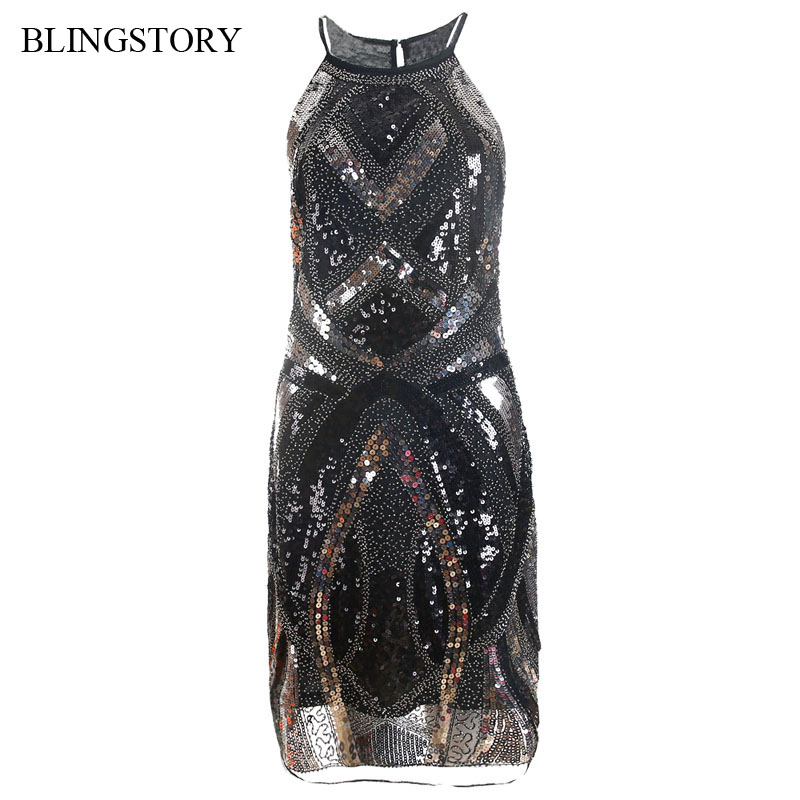 BLINGSTORY European Women's Summer Off Shoulder Dress Empire Cut Metal Sequin Bead 1950s Vintage Dresses Drop shipping KR2009 1