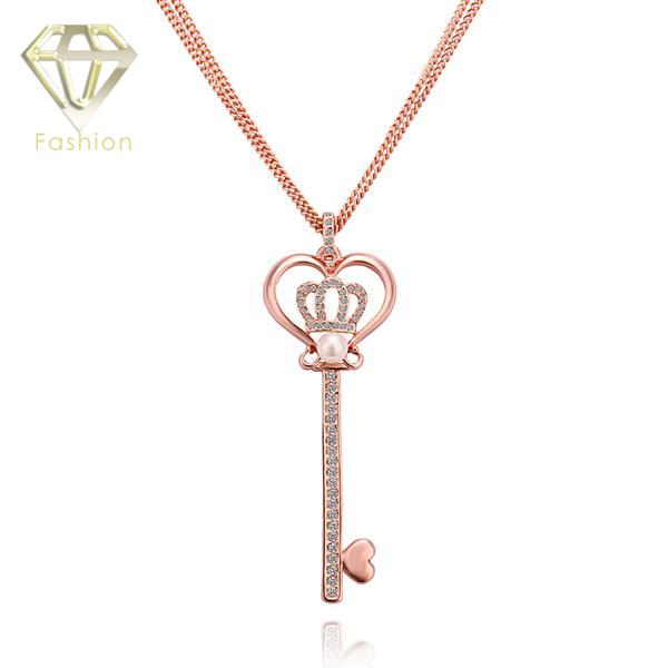 New Design King Style Fashion Rose Gold Color Vintage Long Sweater Chain Key&Crown Pendant Necklace Jewelry for Women Girls