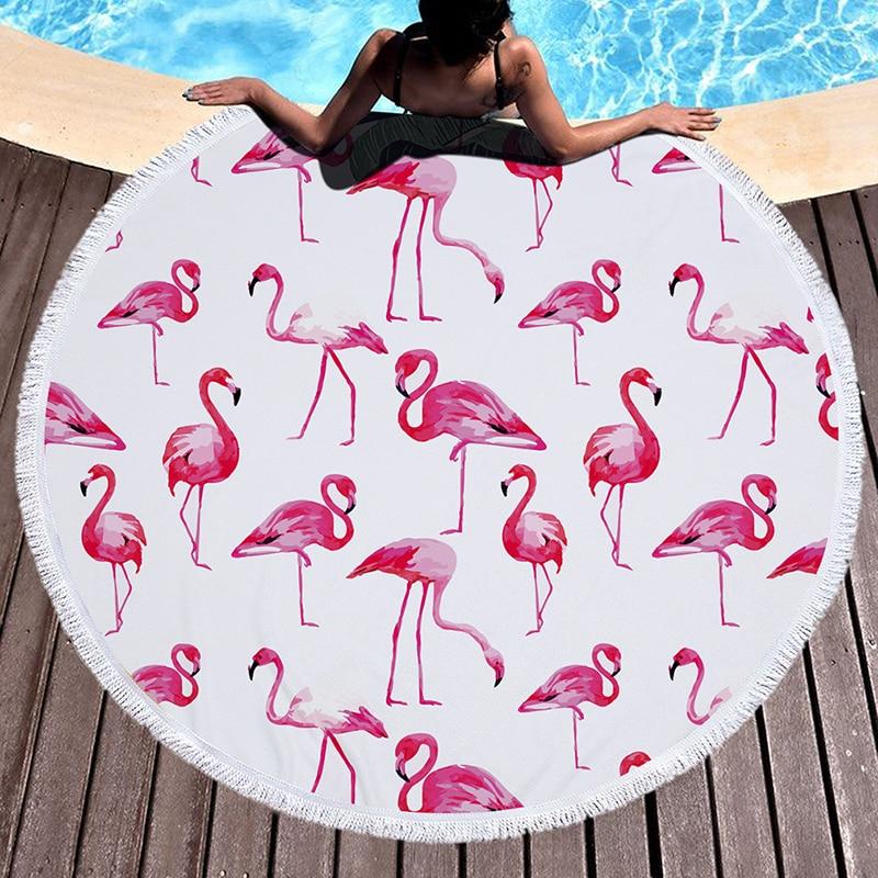 Flamingo Serie Strandlaken Microfiber Badhanddoek Ronde Yoga Mat Tapijt Picknick Tapijt Voor Volwassen Bohemen Reizen Serviette 2019 Nieuwe Mode-Stijl Online