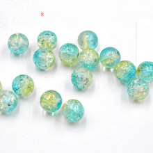 FLTMRH 10pcs 8mm Round Glass Crackle &mm Loose Beads Wholesale I String Fit Handmade Bracelet Neckl ace DIY Craft Making(China)
