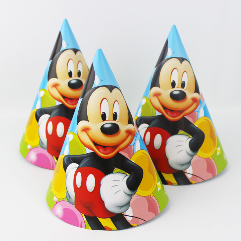 <font><b>NEW</b></font> Arrival Party Supplies Cheering Toys Paper Hat Cartoon hat <font><b>Lovely</b></font> <font><b>Mickey</b></font> Cap Child Favors <font><b>2015</b></font> <font><b>Hot</b></font> Sale 12pcs/<font><b>lot</b></font>