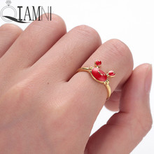 QIAMNI Dainty Lovely Red Crab Finger Rings Party Birthday Gift Beach Sea Animal Adjutable Knuckle Ring Jewelry Charm Bague