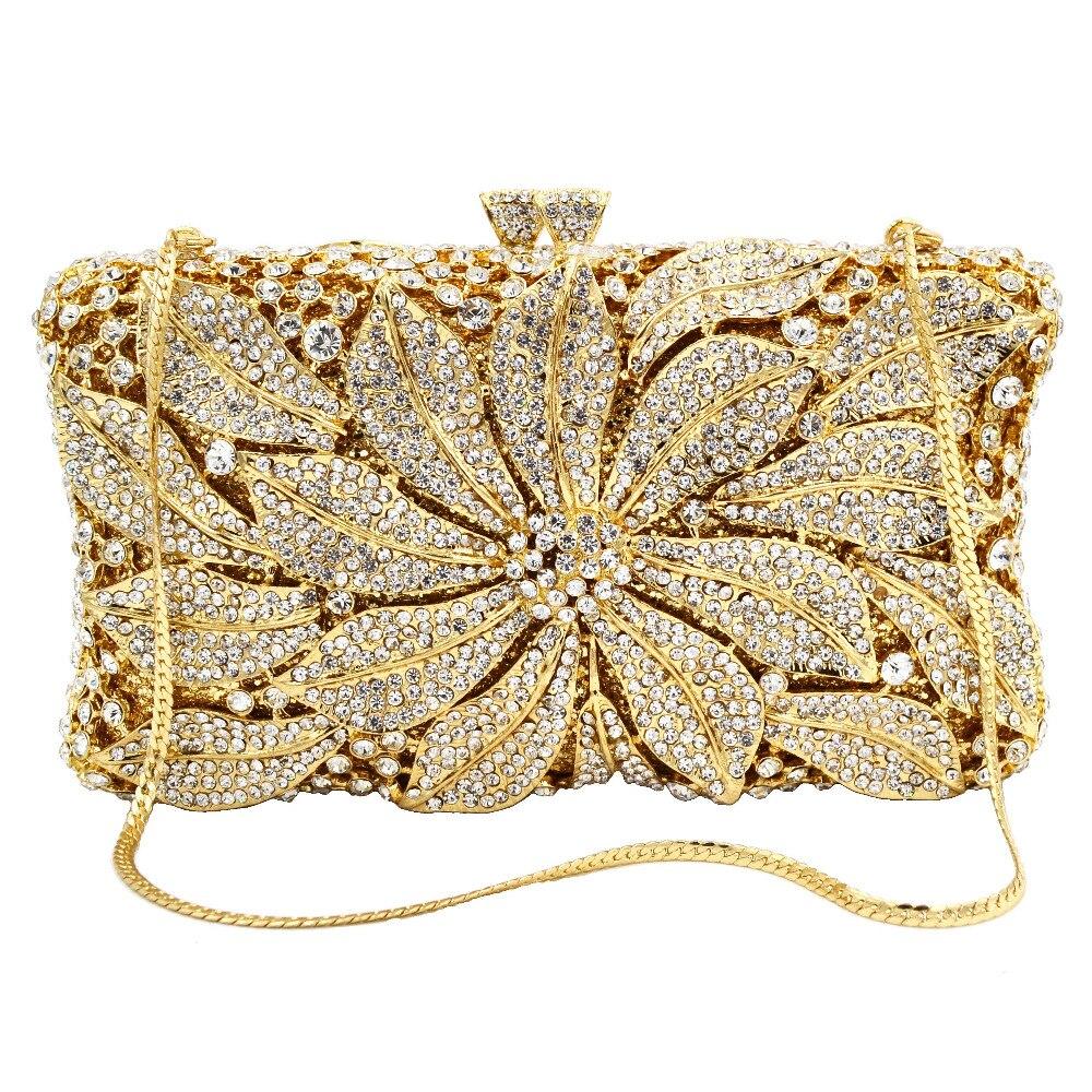 Bagaj ve Çantalar'ten Üstten Saplı Çanta'de Altın Gümüş Çiçek Çanta Elmas Kristal Kadın Parti Mini Çanta Fuschia el çantası Düğün Çantası SC752'da  Grup 2