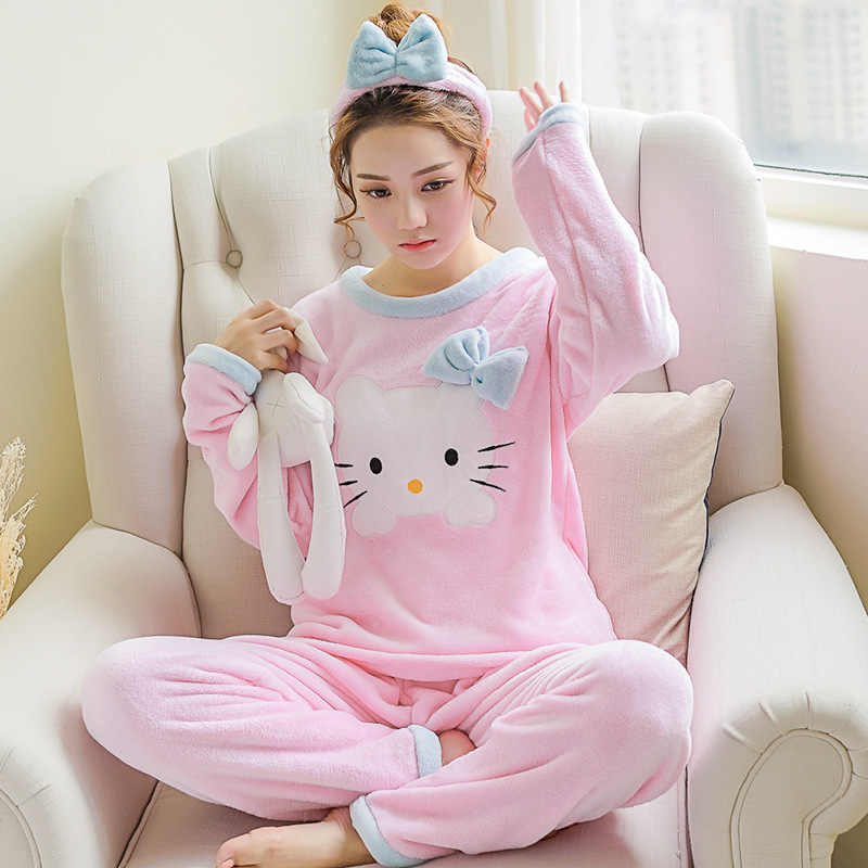 3c07c8cd3b Women Pajama Sets with Hair Band Hello Kitty Women Clothing Girls Cat Pajamas  Winter Thick Flannel