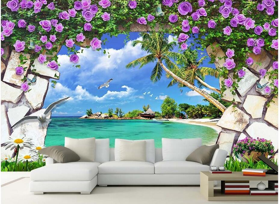 Custom photo 3d wallpaper non woven mural modern flower - Flower wallpaper mural ...
