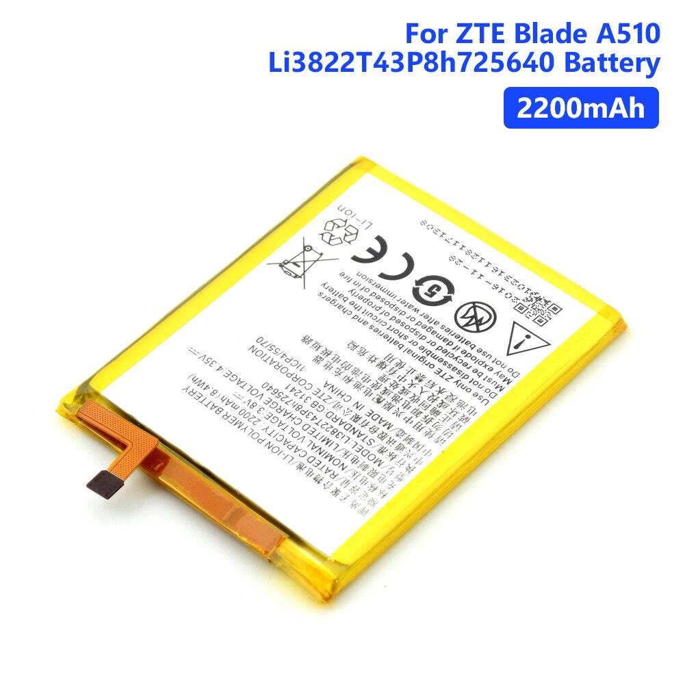 Baterias de bateria genuínas li3822t43p8h725640 do telefone bateria recarregável do lítio para o telefone celular da lâmina a510 de zte 2200 mah 3.8 v
