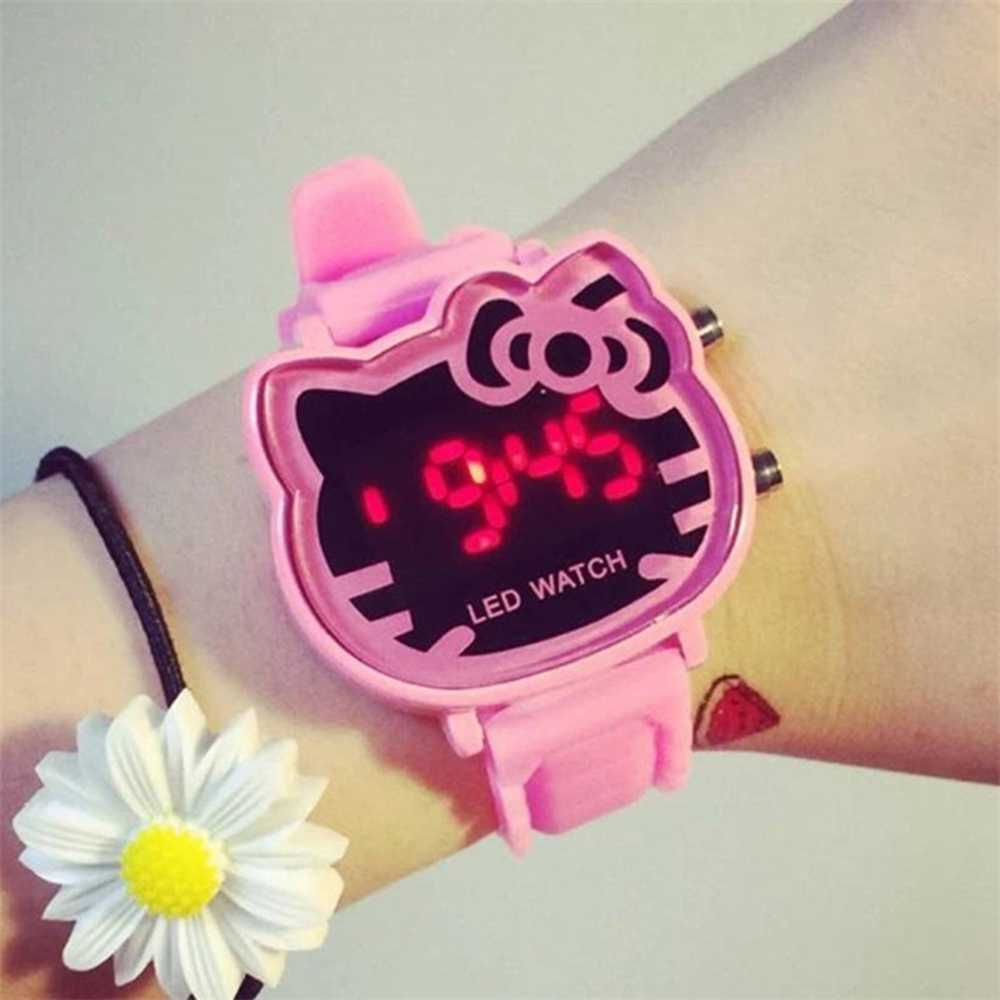 2019 New Cat Quartz Led Digital Watch Women Luxury Fashion Lady Girl Band Cute Wristwatch Relogio Crystal Hour