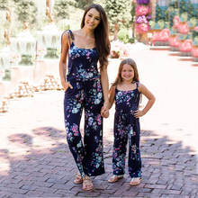 Mom Daughter Europe Summer Clothes Mom And Me Deep V Straps Jumpsuit Parent-Child Mother Daughter Dress Family Matching C0401 цена 2017