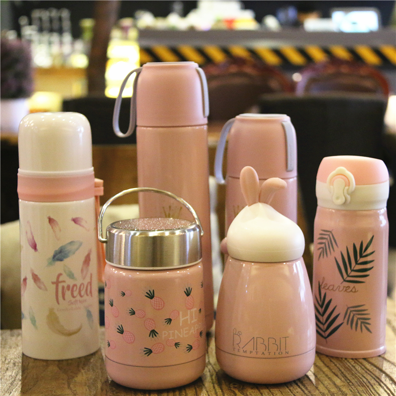 OUSSIRRO Pink 304 stainless steel Thermos cup mug Vacuum female student portable cute creative water glass Girlfriend couple gif