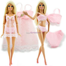 Free shipping Pink Sexy Pajamas Lingerie Nightwear Lace Night Dress + Bra + Underwear Clothes For Barbie Doll Skirt Clothes(China)
