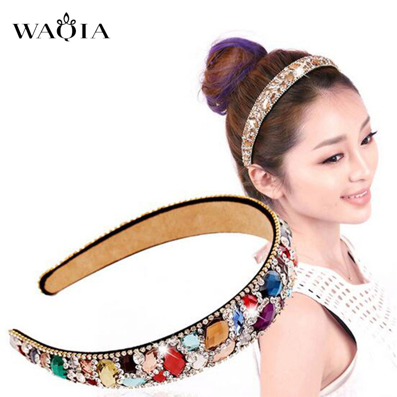 High-end hair hoop girls hit wide-brimmed crystal diamond hairpin women hair accessories wholesale tire head band 3 Colors south korea han edition tire hair accessories fashion version of wrong layer tassel wide set auger flannelette hair band