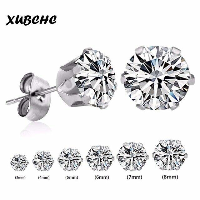 e0426dbdbf89 Xubchc precio para 6 tamaño blanco plata color ZIRCON Pendientes para las  mujeres AAAA Crystal Stud
