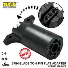TIROL 7 Way Blade to 4 Way Pin Flat Trailer Wiring Adapter Trailer Light Plug Connector RV Boat  Free Shipping