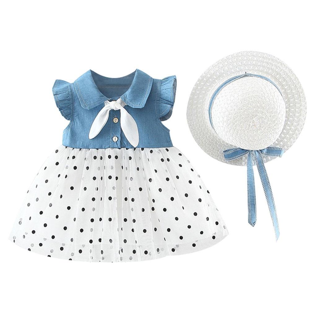 Infant Summer Dress Hat Girl Princess Toddler Baby Girl Dresses Party Wedding Denim Clothes Outfits SZYADEOU Vestidos Bebes L5