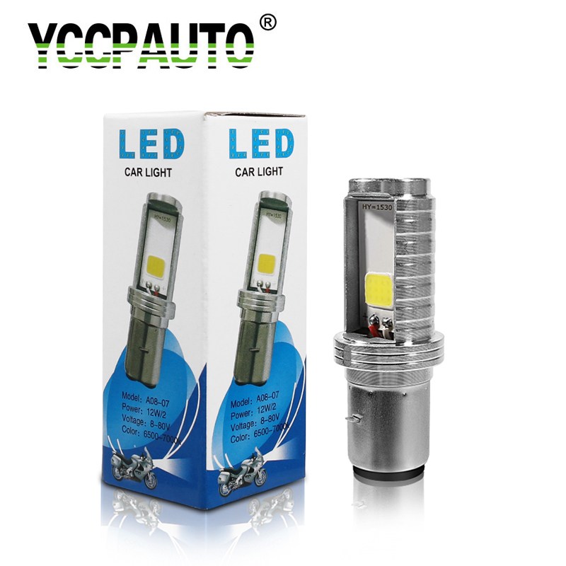 YCCPAUTO LED Motorcycle Headlight Moped Led-Moto-Bulb Scooter H6 Ba20d 1200lm White 12W title=
