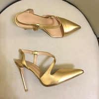 Femmes sexy bout pointu pompes à talons hauts de haute qualité en cuir véritable chaussures à talons hauts femmes chaussures de fête EU35-41 taille BY659