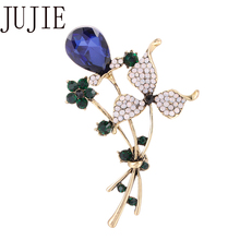 JUJIE Luxury flower Brooches For Women Fashion Crystal Coat Clothing Scarf pins Corsage Lapel Brooch Jewelry Dropshipping crystal sunflower brooches lapel pins for women corsage scarf dress decoration