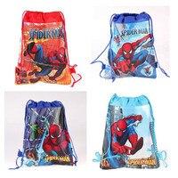12 шт. супер герой паук Drawstring Рюкзак нетканый материал Loot сумка подарок сумка тема вечерние для детей мальчик День рождения украшения