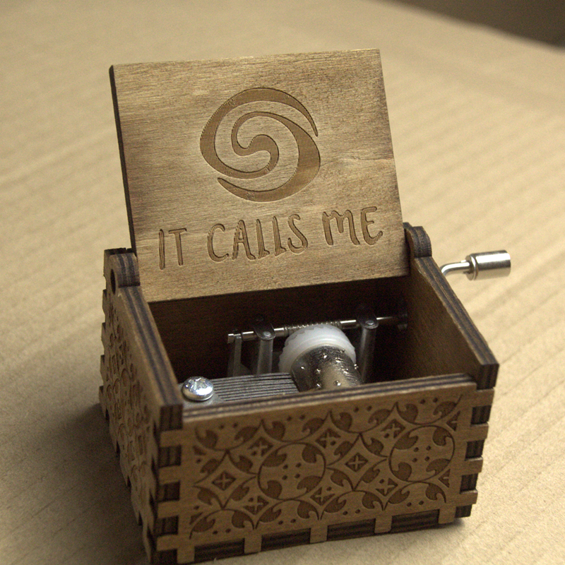 Gifts Anime Moive Moana It Calls Me Theme Handmade Engraved Wooden Music Box Crafts Cosplay