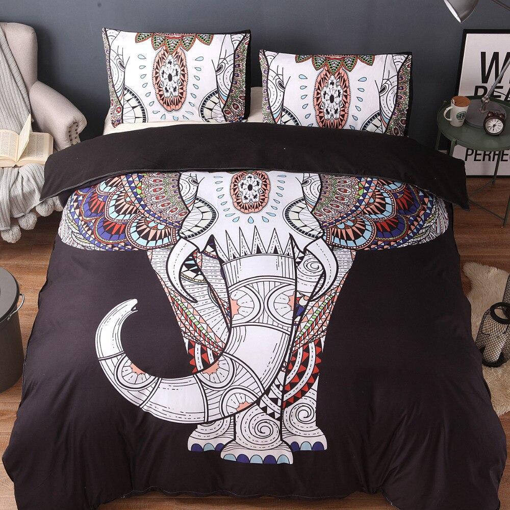 Fanaijia inde couette ensemble de literie housse de couette ensemble avec taie d'oreiller éléphant bohème Design US reine roi lit ligne de lit