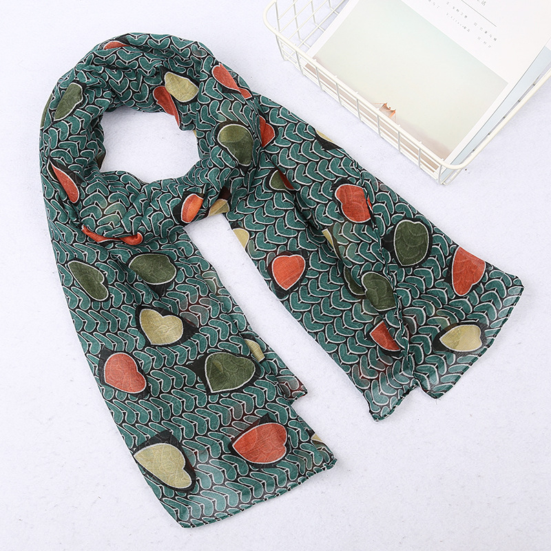 Newest Women Shawls Heart Printing Long Soft   Wrap     Scarf   Ladies Shawl Soft Winter   Scarves   Neckerchief   Wraps   Echarpe