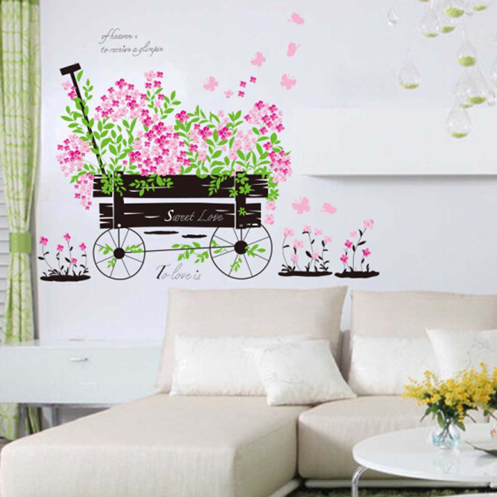 Free shipping Decorative diy 3d flower nature wall decal living room wall mural