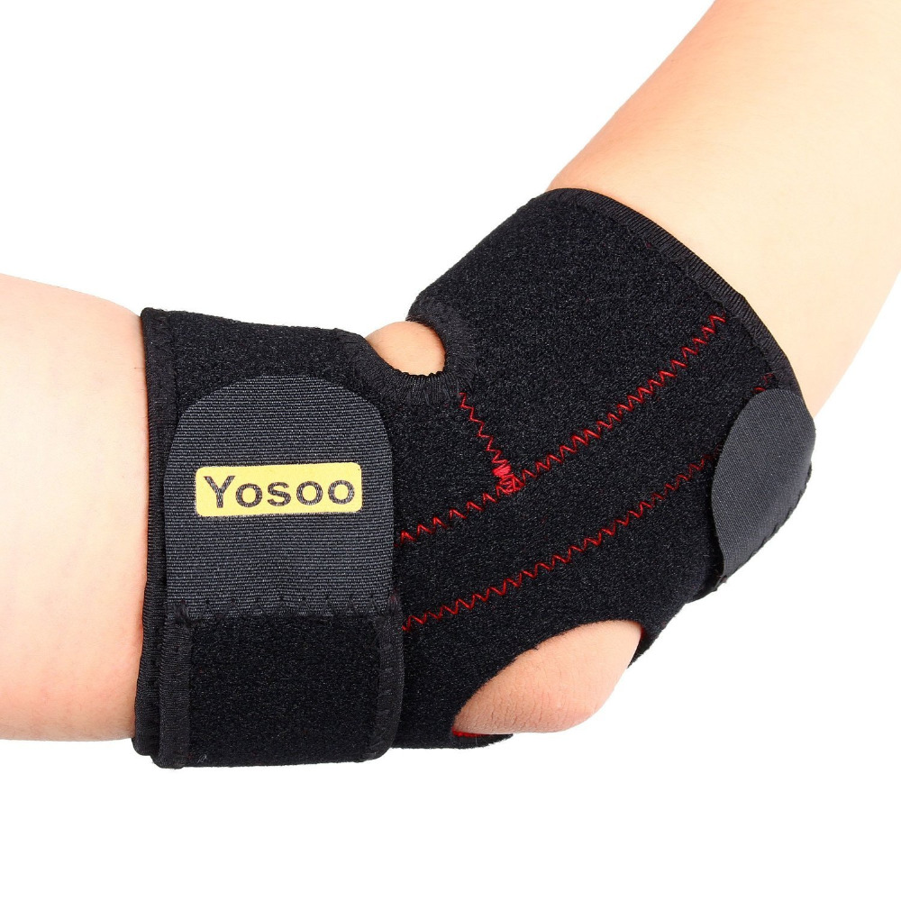 Yosoo Adjustable Neoprene Elbow Support Wrap Brace Pad Strong Basketball Sports Elastic Elbow Injury Pain Relief Protector