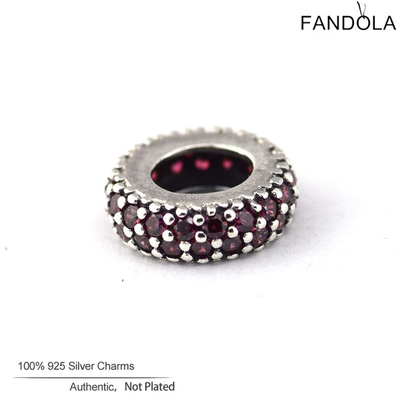 Fandola Bead 925 Sterling Silver Inspiration Within Red CZ Charms Beads for Jewelry Making Fits Diy Women Jewellery Bracelets
