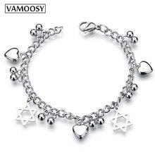 hot deal buy 2018 fashion woman bracelets hexagram silver chain pendants love heart bracelets & bangles charm bracelets for women 925 jewelry
