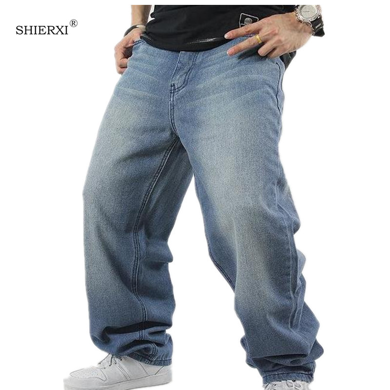 SHIERXI Man loose jeans hiphop skateboard jeans baggy pants denim pants hip hop men ad rap jeans 4 Seasons big size 30-46 euramerican style baggy hip hop men jeans widened increase skateboard pants comfortable mid waist casual mens streetwear jeans