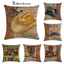 Zapatos de vaquero, patrón de sombrero, cojín de lino de algodón, Fundas de cojín vintage, sofá cama de granja, funda de almohada decorativa de pueblo, 45x45cm