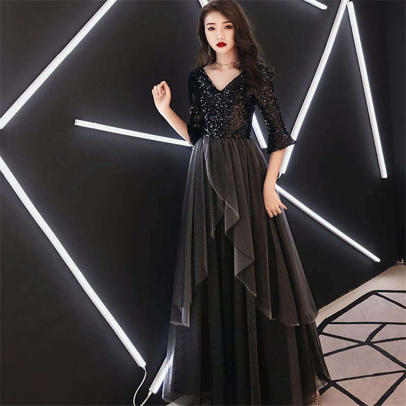 It's YiiYa Evening Dresses Sequine Splicing V-neck Tulle Long Women Party Dress Half Sleeve Robe De Soiree Plus Size 2019 E473