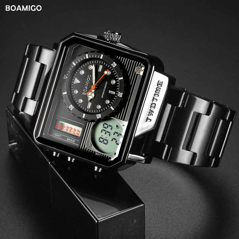 2019 nowych moda BOAMIGO Top marka luksusowy zegarek męski 30m wodoodporny Auto data zegar mężczyzna zegarki mężczyźni cyfrowy zegarek na co dzień
