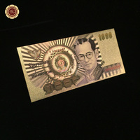 Bhumibol Adulyadej Thailand 1000 Baht Colored 24k Gold Banknote Pure Gold Foil Banknote Decoration Crafts