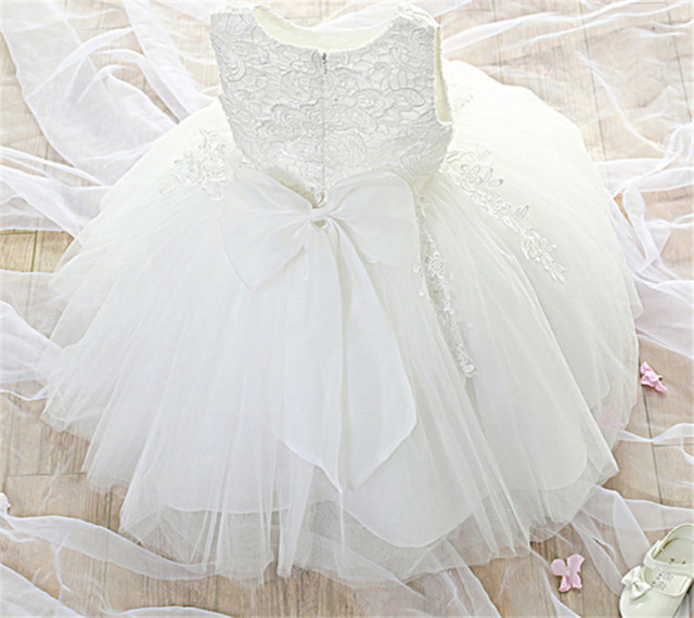5ae26cfb11bc White Lace Flower Girl Wedding Easter Dress Toddler Little Girl Clothes For  Baby Kids Prom Dance Party Children Graduation Gown-in Dresses from Mother  ...