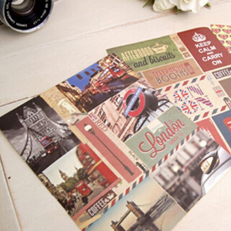 Student 3 sheets/lot (1 bag) Vintage Retro Paris London Sticky Paper Travel Stickers for home Decoration Photo Album 5518