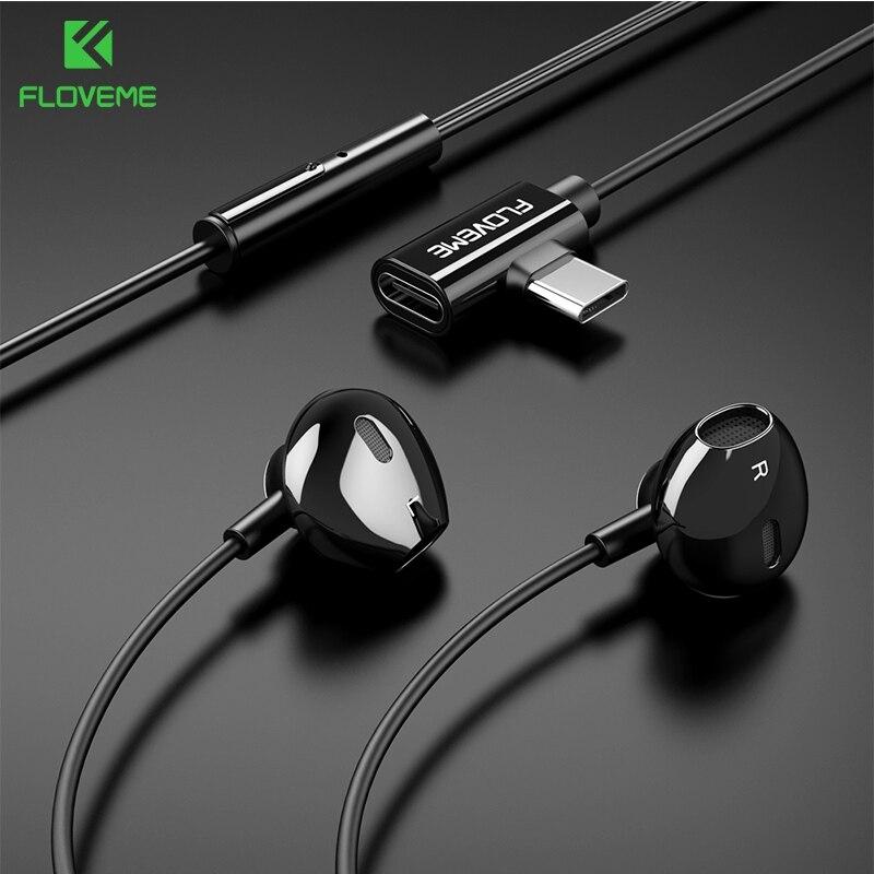 Floveme 2 In 1 USB Type C Earphone For Xiaomi A1 A2 Mix 2s Samsung Note 10 S10 S9 Charging Sport Earphone Headset Fone De Ouvido