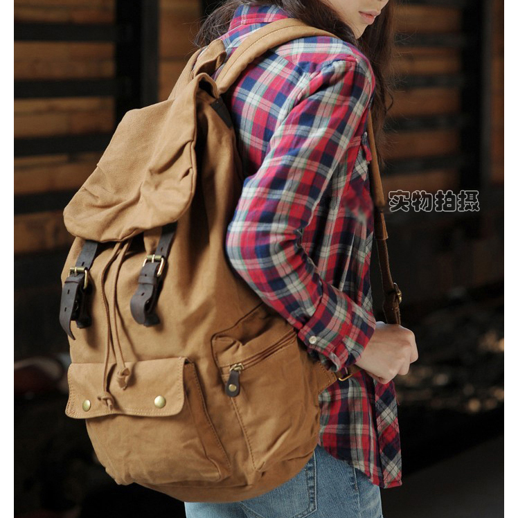 Fashion New 2018 Military Canvas backpacks for teenage girls Fashion women Backpack School bag Travel free