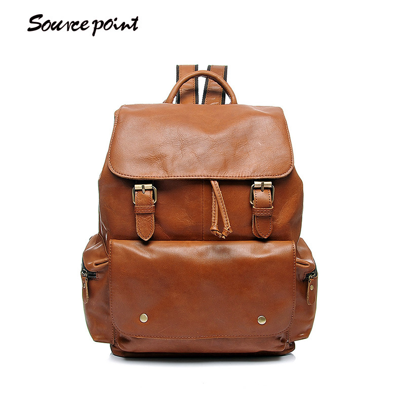 YISHEN Oil Wax Leather Women Backpack Casual Female Large Capacity Travel Bags Fashion Retro School Book Bags For Girls YD-8031