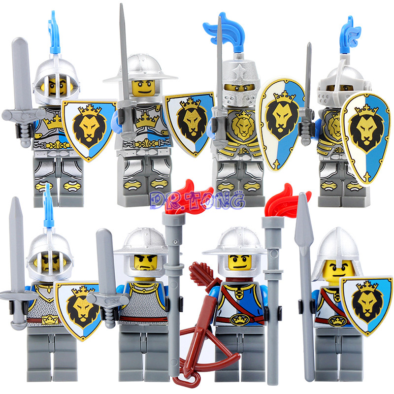 DR.TONG Medieval Castle Knight Figure Blue Lion with Weapons Single Sale Building Blocks Figure Bricks Mini Doll Child Toys 9801 single sided blue ccs foam pad by presta